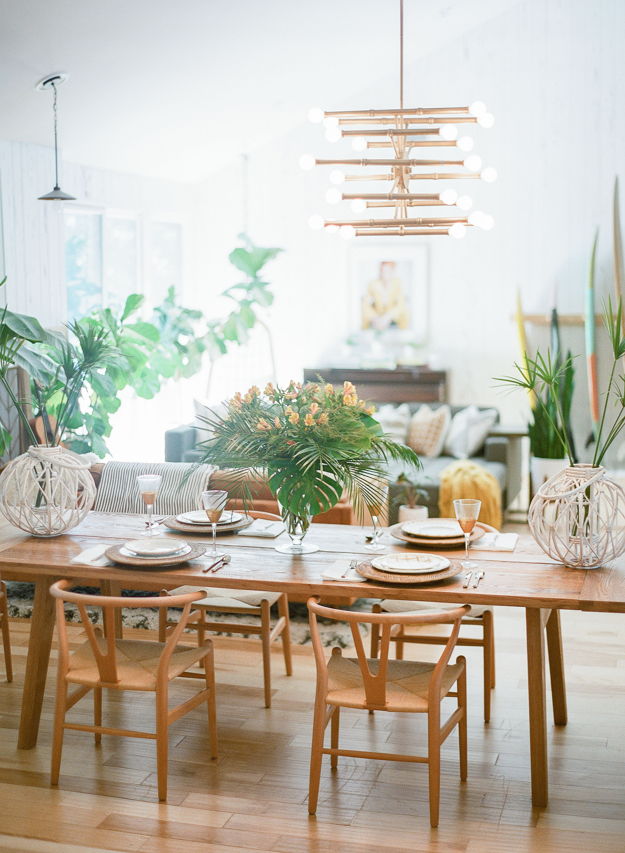 Natural tropical decor for boho brunch in Charleston SC