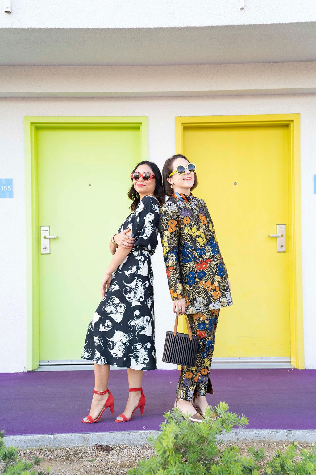 Zac Posen floral black dress & brocade jacket and Friedrich's Optik sunglasses worn by Charleston bloggers Charleston Weekender & Charleston Shop Curator