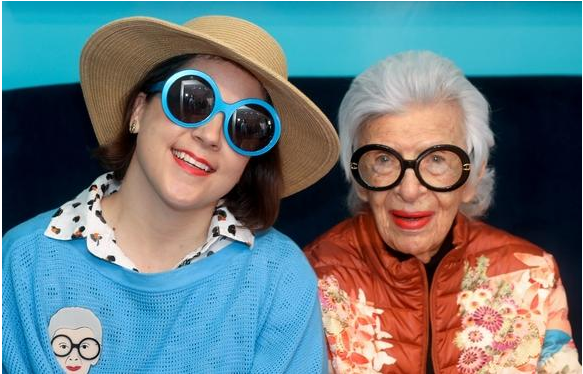 Iris Apfel wearing Friedrich's Optik glasses with Charleston Weekender in Palm Beach
