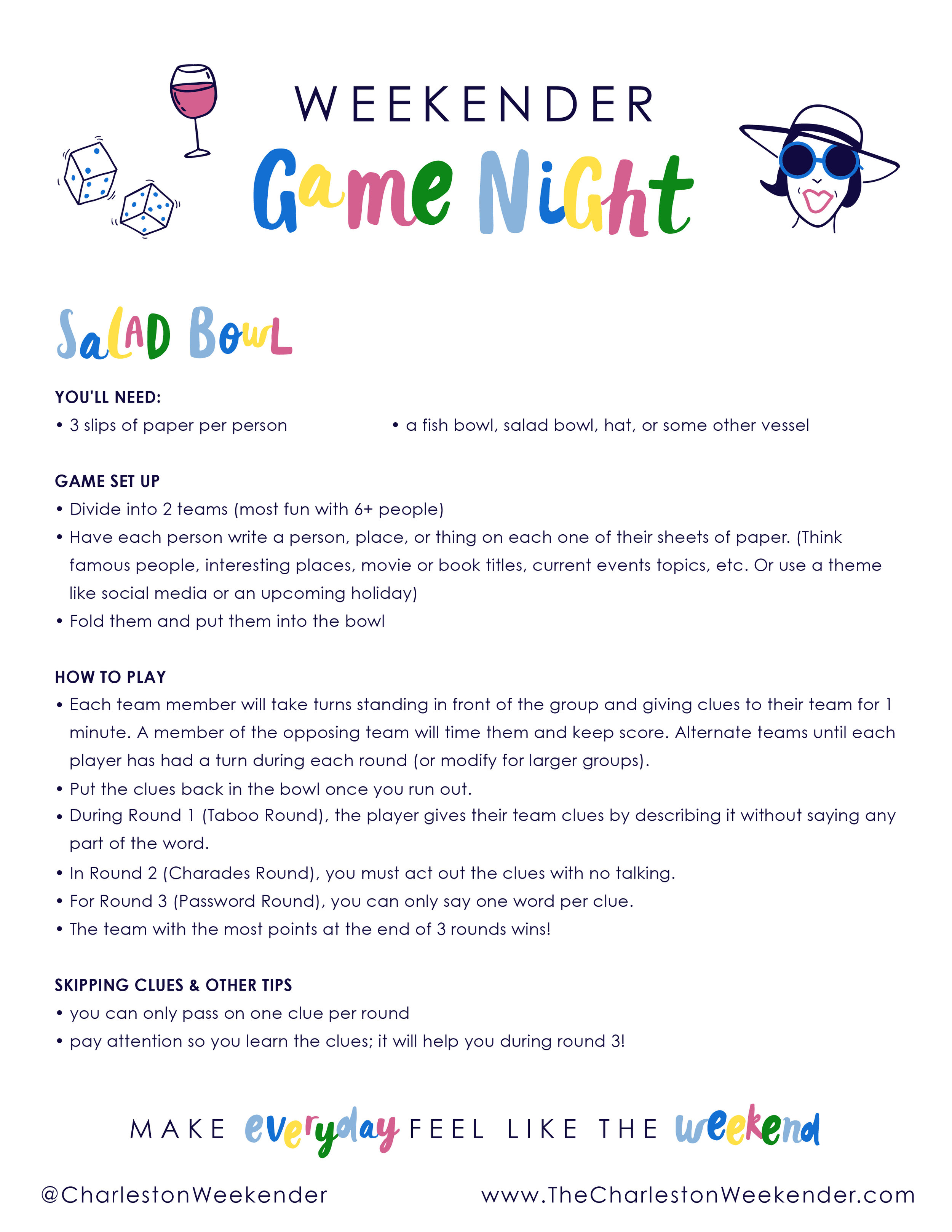 Charleston Weekender Game Night Salad Bowl Instructions Download Alt Summit