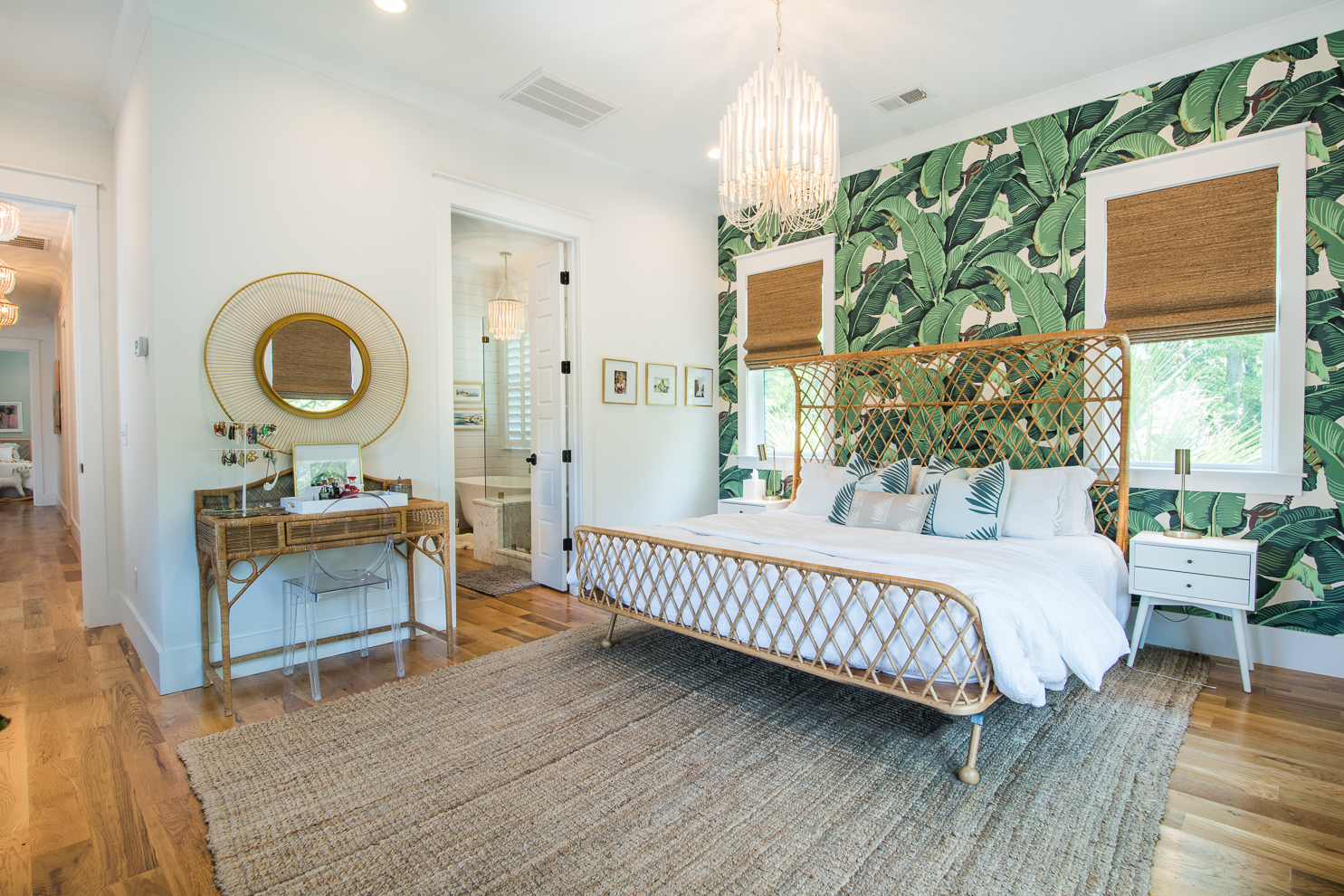 master bedroom with dorothy draper martinique wallpaper