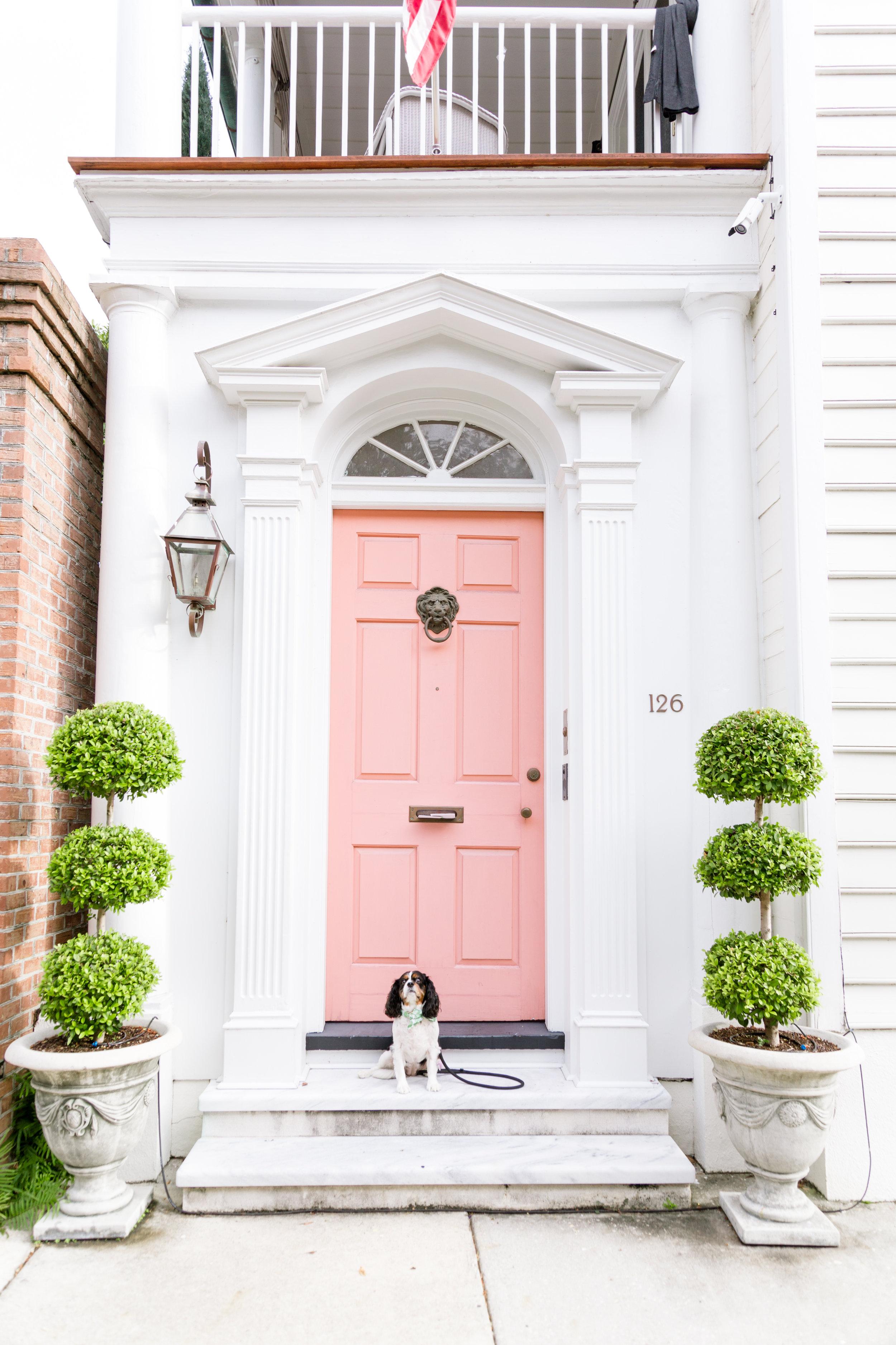 pink door in Charleston on Tradd Street