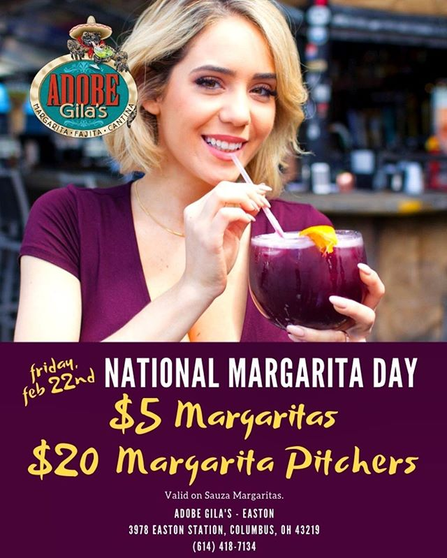 "Our favorite ""national day""! National margarita day is just 2 short days away! Come celebrate with us with $5 margaritas or $20 pitchers! #margarita #mexicanfood #gooddeals #nationalmargaritaday"