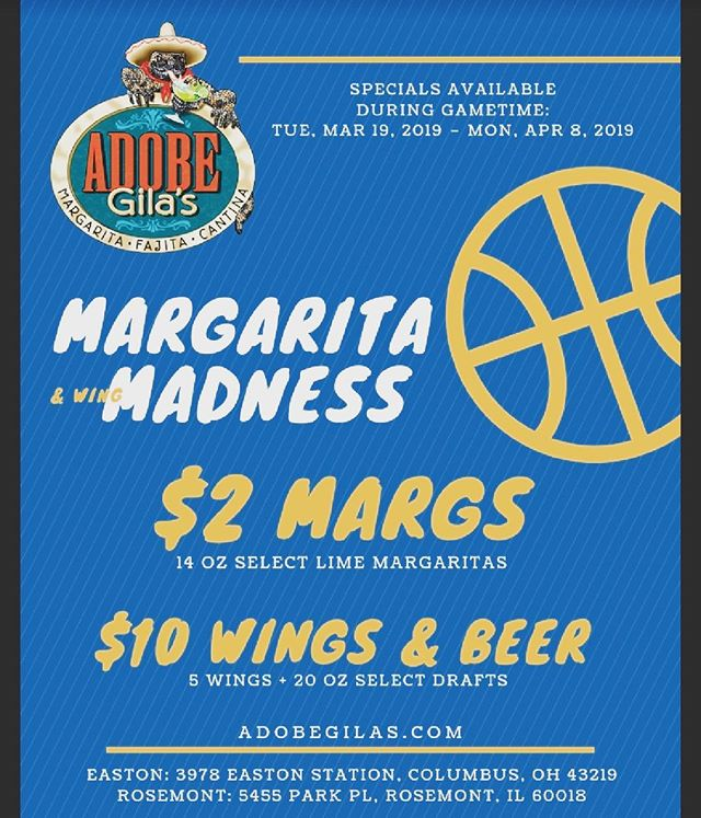 It's almost that time! Wings, beer and margaritas to help you cheer on your favorite teams! #gametime #marchmadness #wingsandbeer #margaritas
