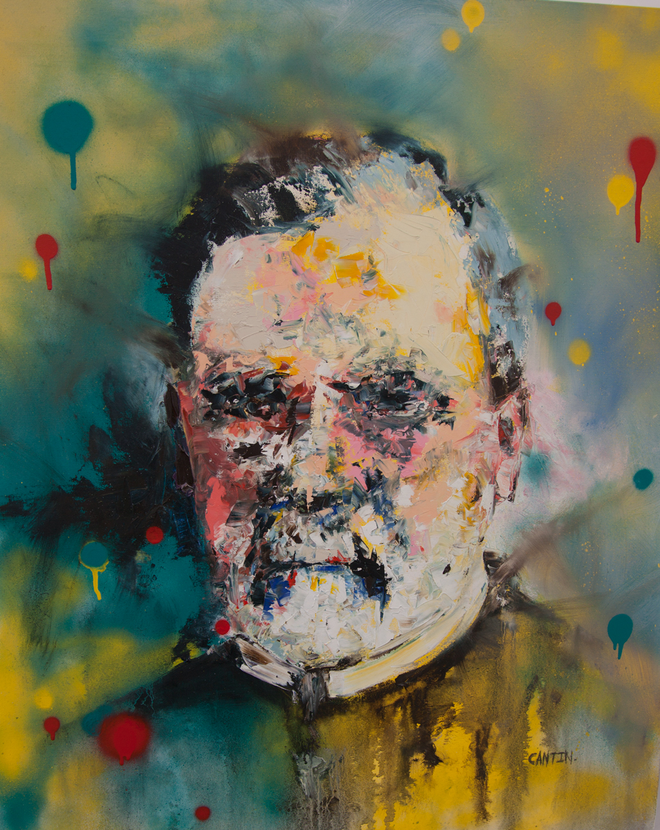 """Pat Cantin. Louis P. Oil and Spray Paint on Canvas. 30 x 36""""."""