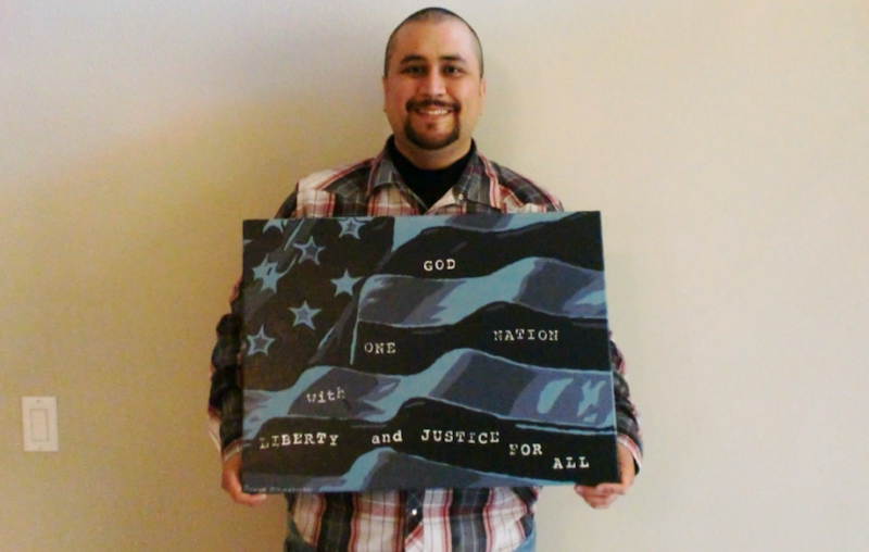 George Zimmerman with his work