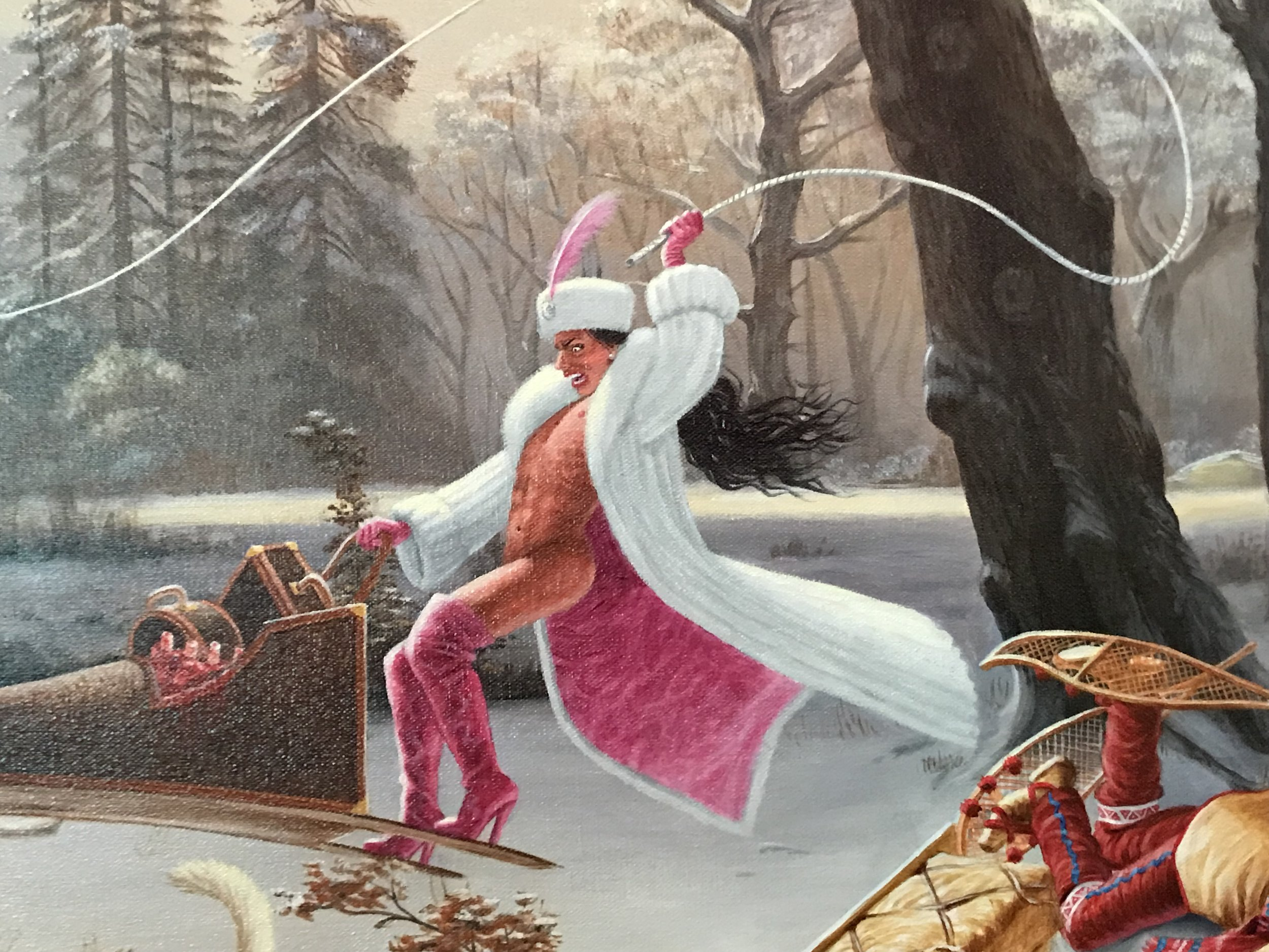 Detail of Kent Monkman's  Charged Particles in Motion , featuring his alter ego Miss Chief Eagle Testickle