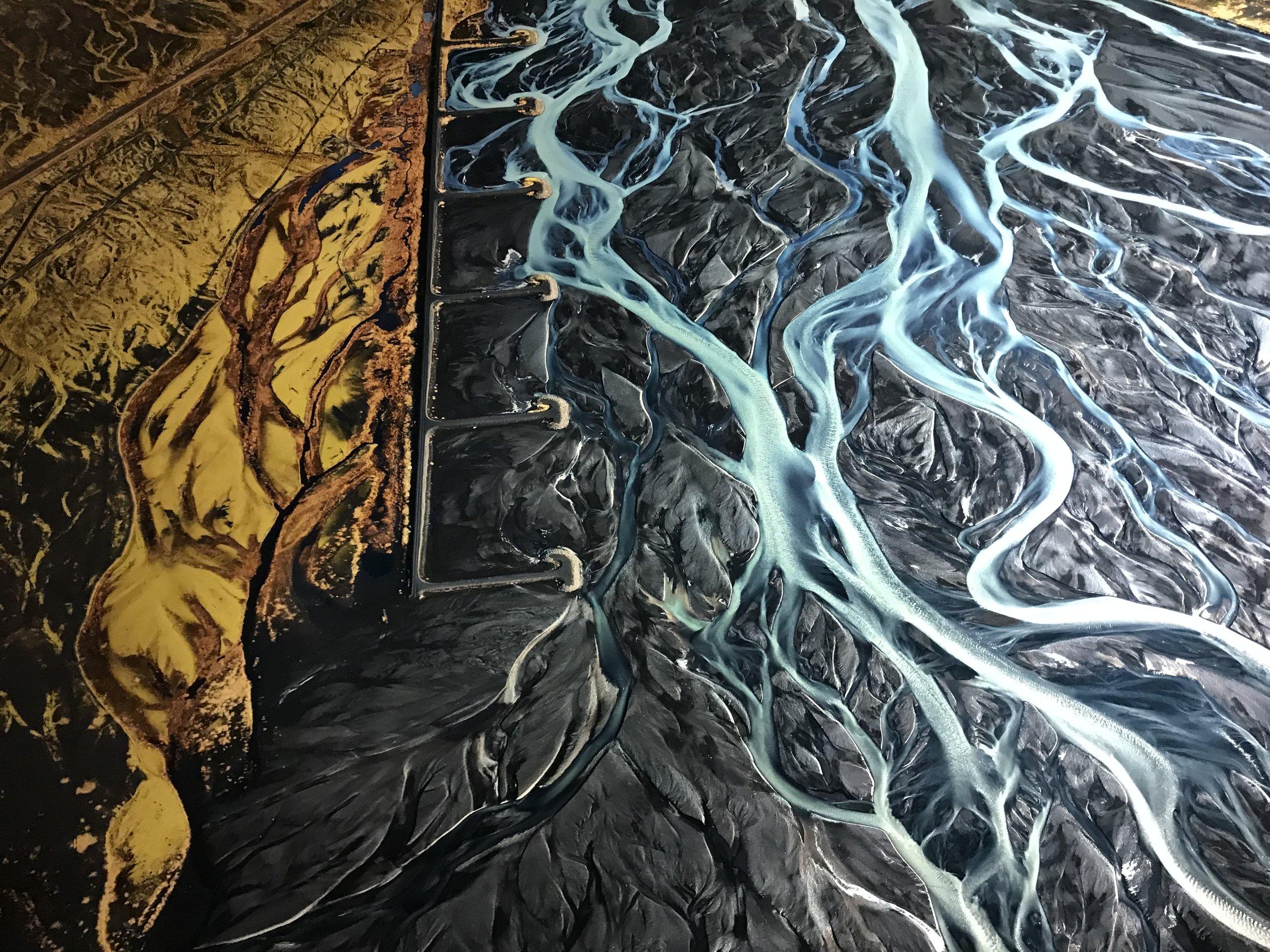 Edward Burtynsky, Markarfljot River #1, Erosion Control, Iceland 2012