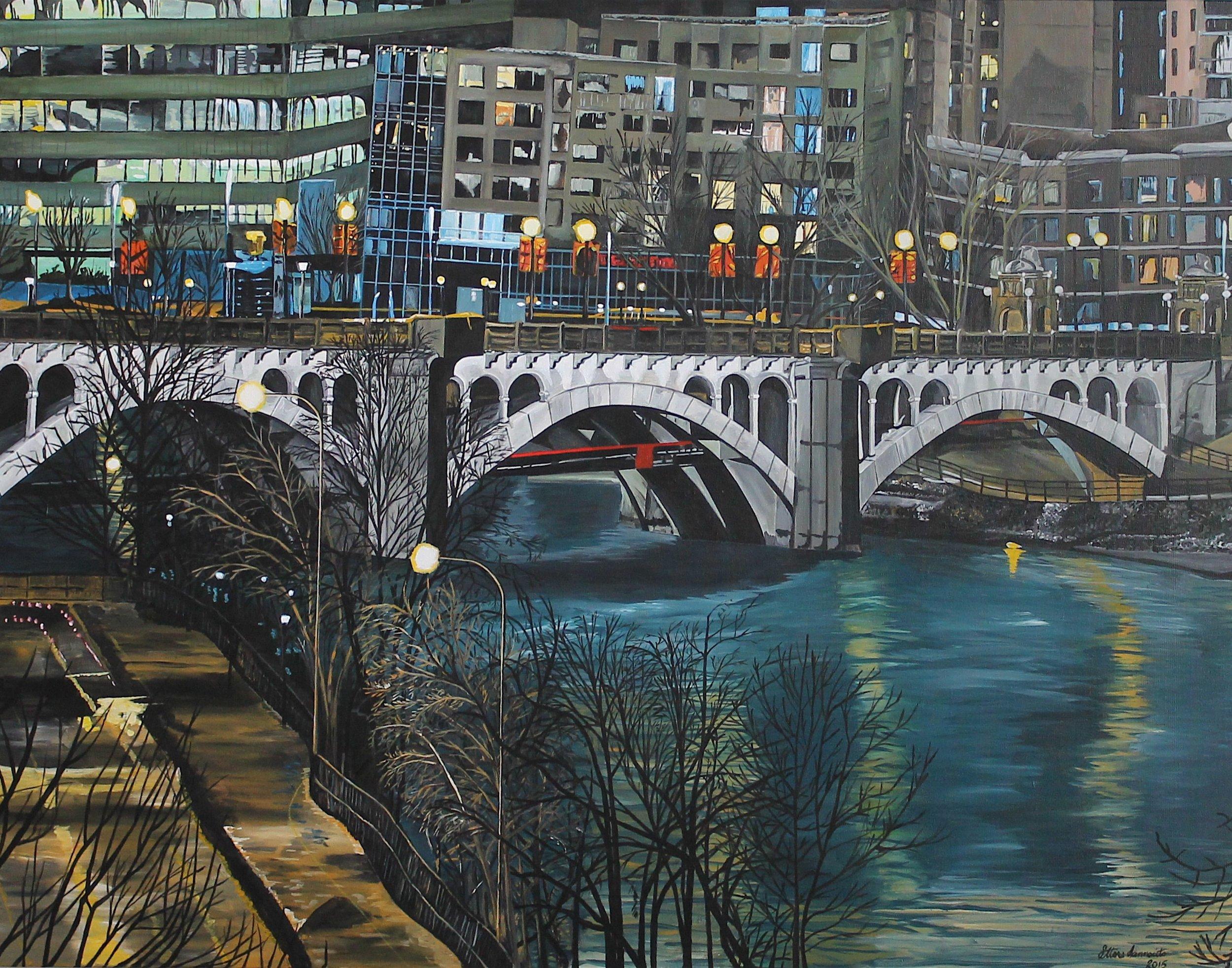 "Centre Street Bridge Calgary , Ettore Iannacito, 48"" x 36"", $1500 CAD (free shipping, free returns, no additional fees!)"