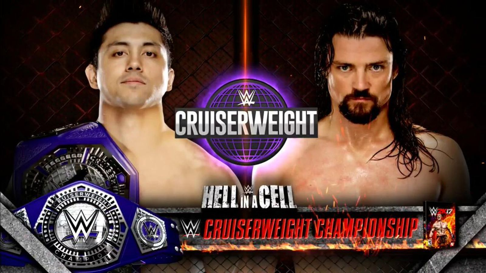 Match promo card for TJ Perkins v. Brian Kendrick at 'Hell in a Cell'