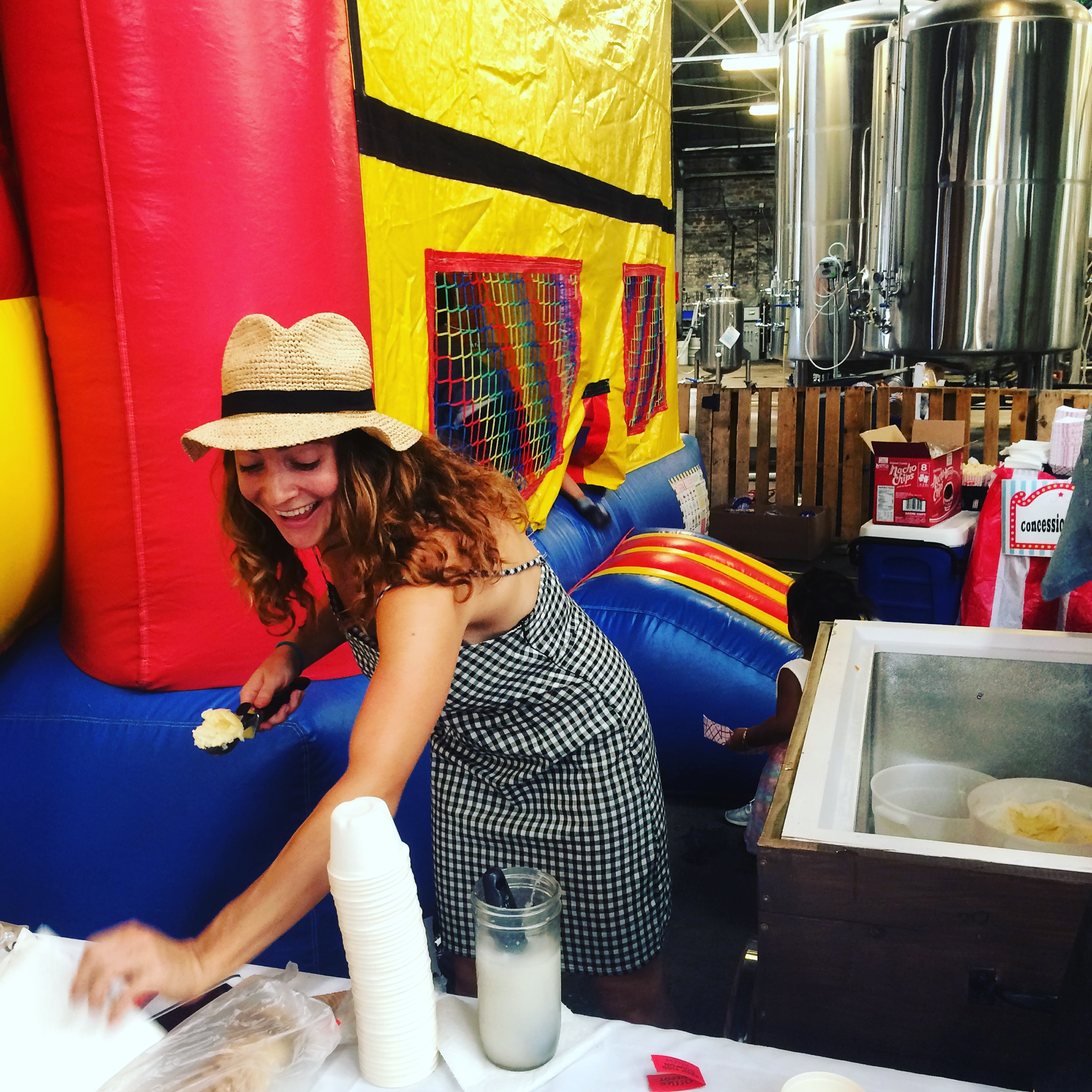 Erica serving her handmade ice cream at a private event. [Photo via  Just Delights ]