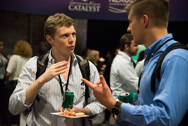 People enjoying Elysian Seafood at New Orleans Entrepreneur Week. Photo by  Monwell Frazier .