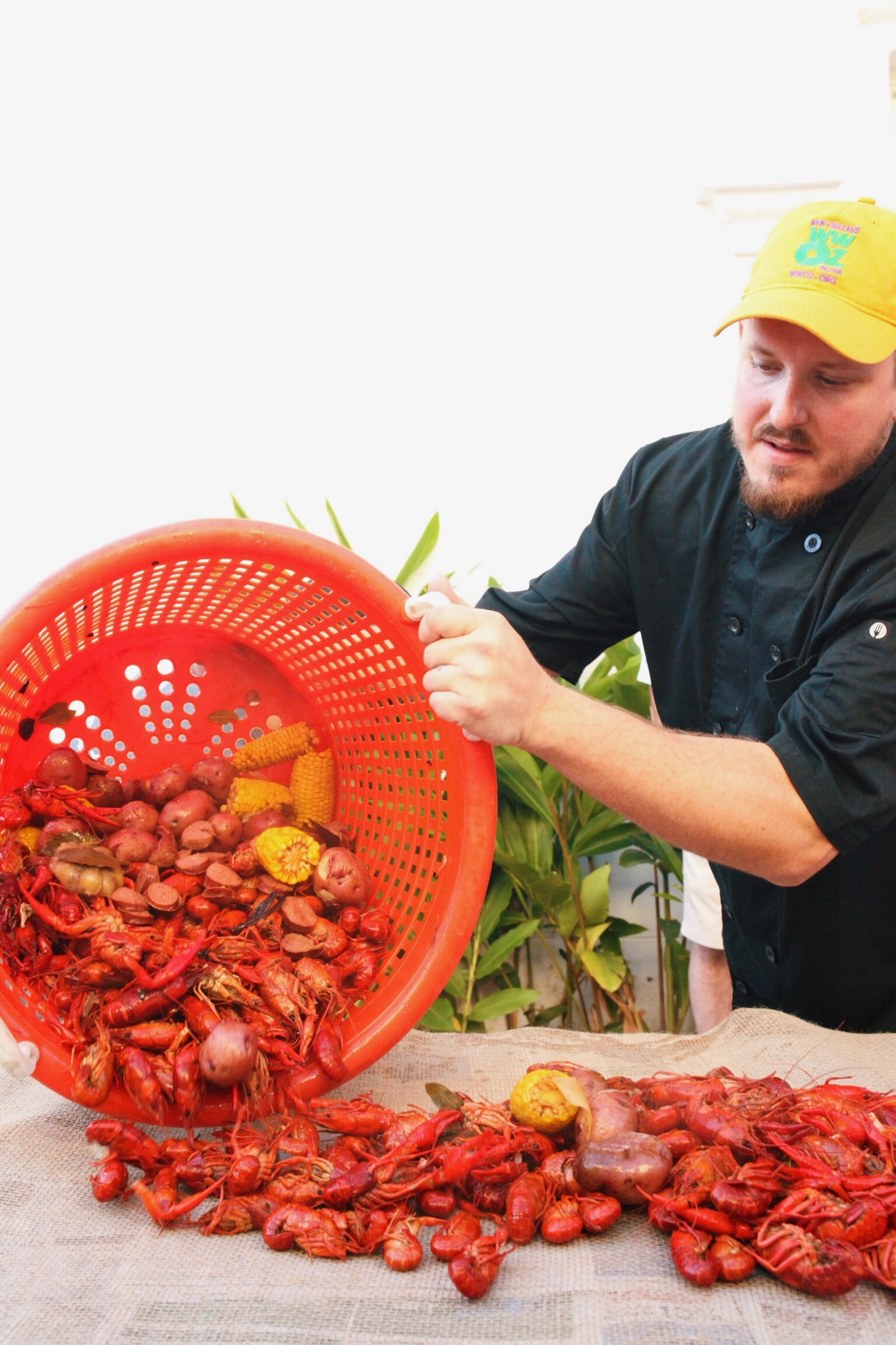 Gulf Coast Crawfish laying out a boil at a client's rehearsal dinner held at Felicity Church in New Orleans.