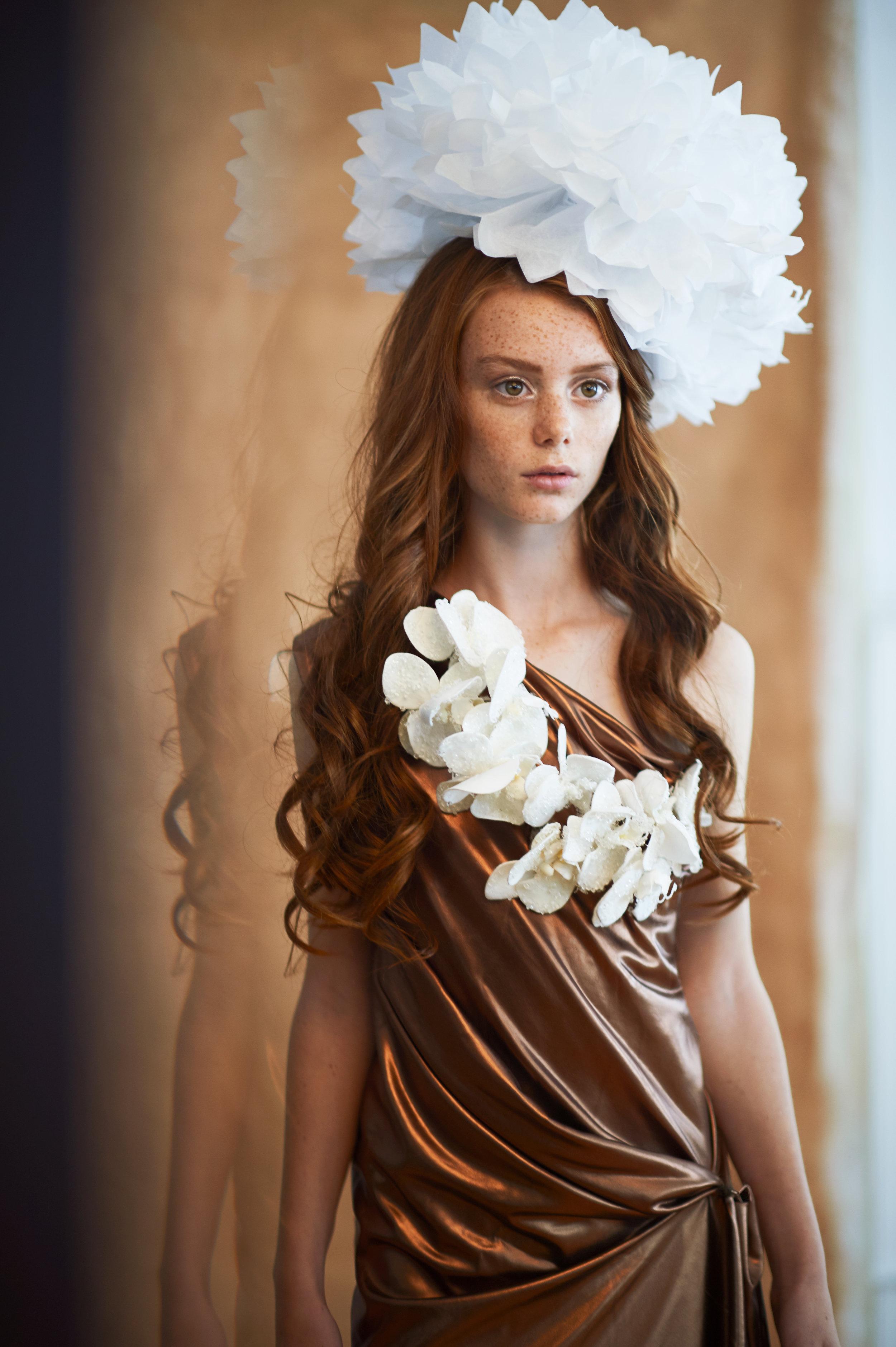 Marta-hewson-Emeryss-Teen-Portrait-Fashion-shoot- copper dress- white ornament and flower necklace.jpg