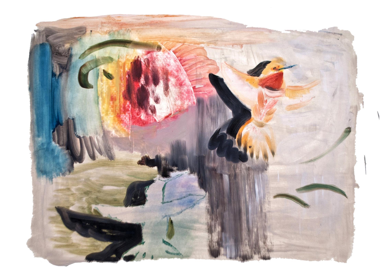 """Untitled (Hummingbirds)"",  Oil on paper, 22 x 30"", 2018."