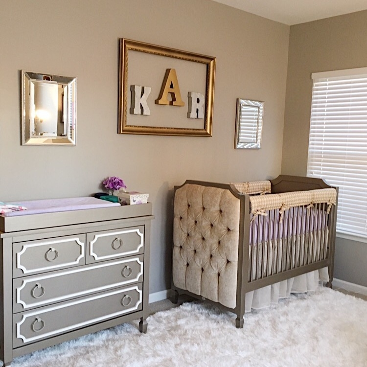 Newport Cottages Beverly 4 Drawer Dresser w/ Silver Hardware with Beverly upholstered Crib in Antique Silver
