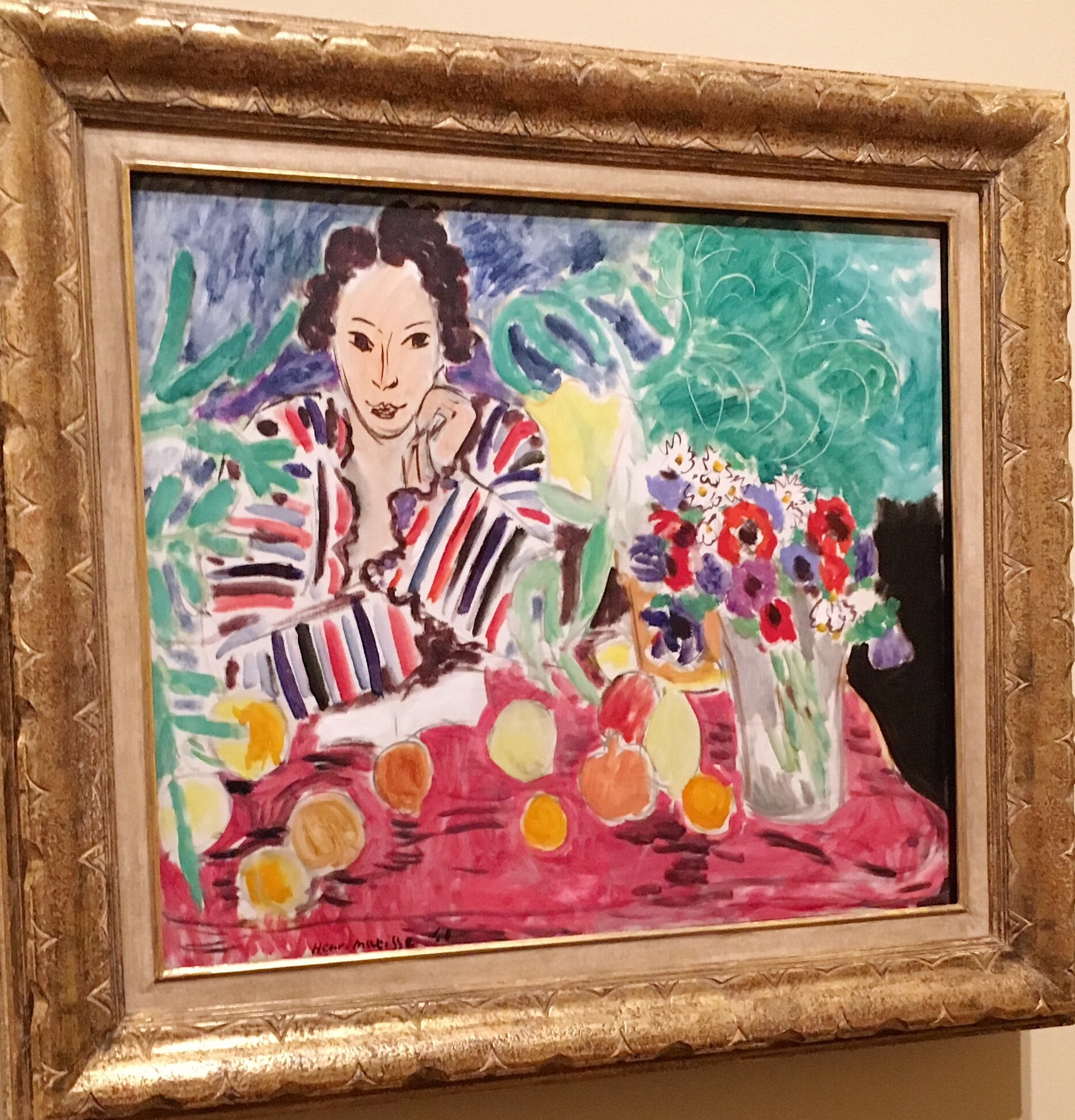 Matisse-Striped Robe, Fruit & Anemones
