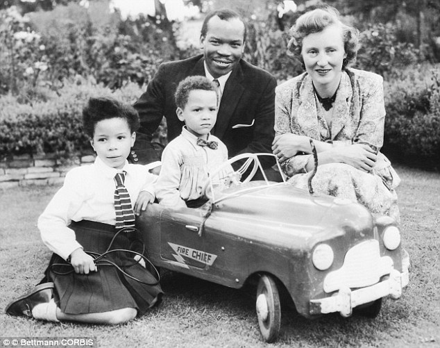 Seretse Khama with his English wife Ruth, and their two children Jacqueline and Seretse Jr in September 1956