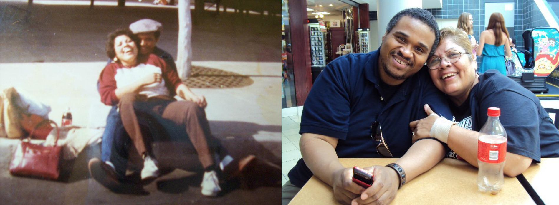 Left: My parents during their courtship in the 1980's; Right: My parents a few years ago during a visit to Chicago.