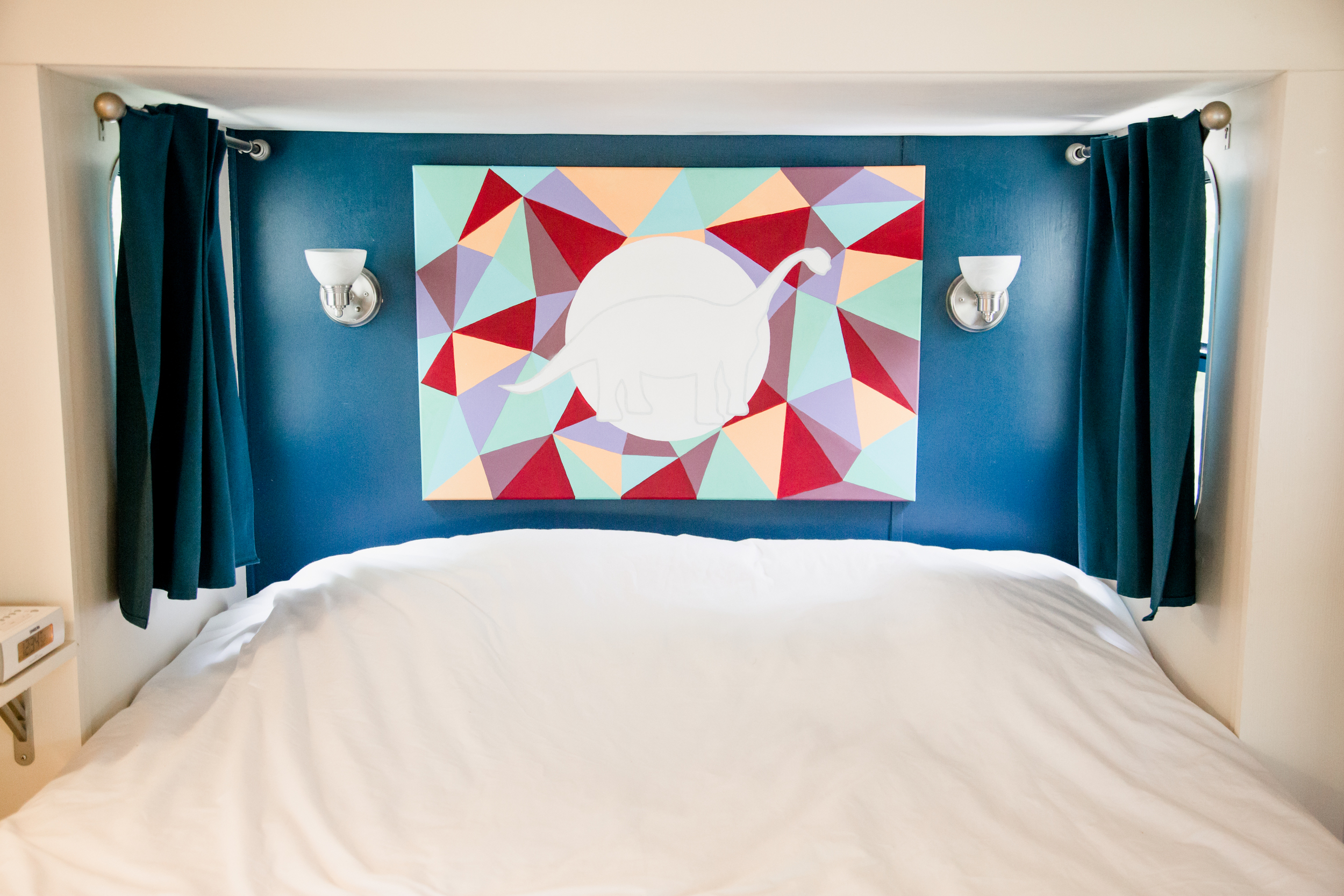 Queen Bed (headboard painting by my sister, Makenna)