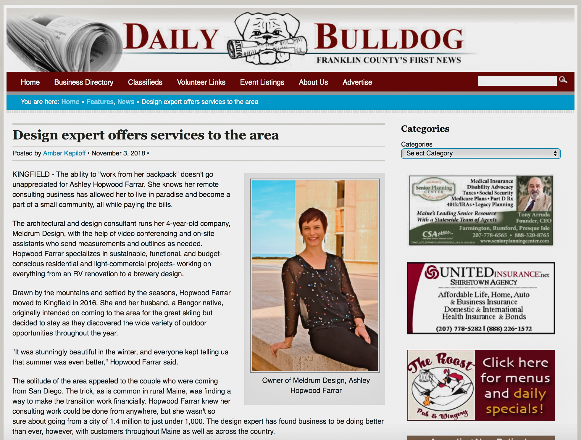 @MeldrumDesign Daily Bulldog  feature - Design expert offers services to the area