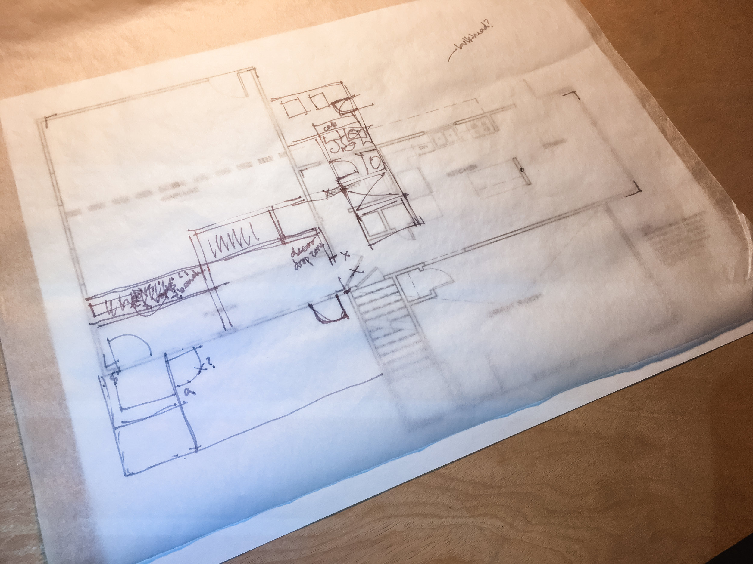 When I'm struggling with a design, I have to get off AutoCAD and back to basics: trace paper over a print out! ✍🏼  This is one of my Maine projects. We're adding a big front porch, adding onto the kitchen, creating a new bathroom and utility room, and converting the garage into a den & craft room.  It's a lot to do in a tight space. Luckily, this is my specialty. 😄