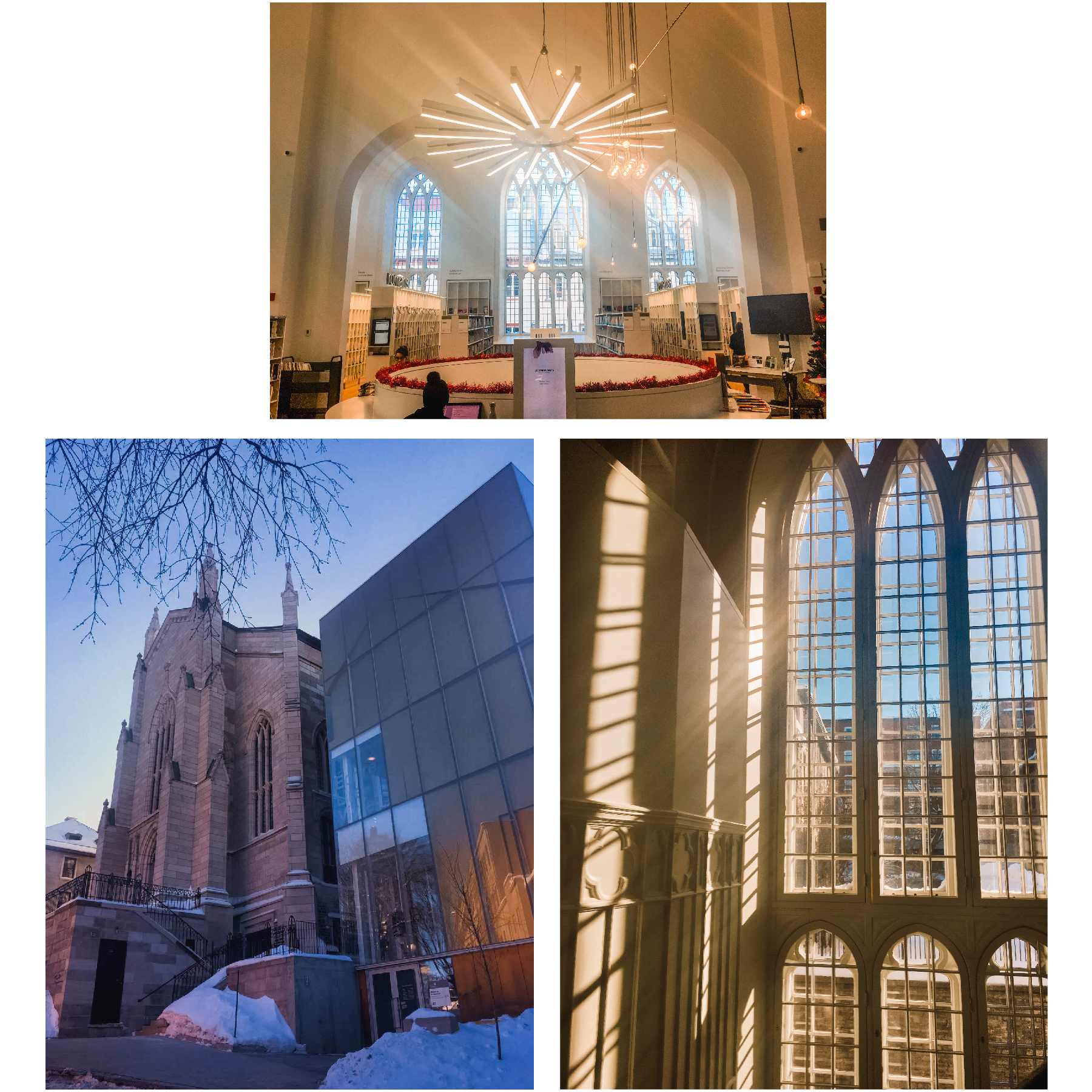 We went to Quebec City back in January for Mike's birthday. 🎉 It was gorgeous and freezing. 🥶 We took refuge in the Maison de la Littérature; an old church turned library. ⛪️ Jesum croe it was incredible. 📚 The natural light ☀️ and way they honored the form of the church was perfect. I'm in love.