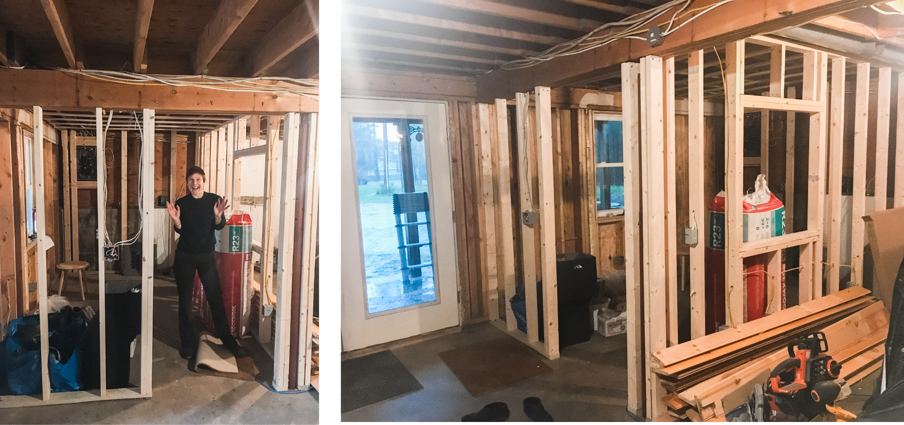"BIG NEWS!! Meldrum Design HQ is under construction! 🔨🚧🧰 So excited for an office of my own. 😆 As usual, squeezing lots of function into a small space. 👌🏻 This is the corner of our daylight basement. ☀️ There's an ""interior"" window to let in heat from the woodstove. We're spraying the whole basement with closed cell spray foam. More on that later... For now, I'll be over here doing the happy dance. 💃🏼"