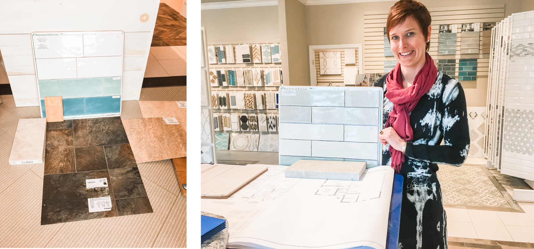 Shopping for interior finishes is one of the best parts of my job. 🛍 This is a recent trip to Morningstar Stone & Tile. We're putting together all the pieces. Here's how I pick finishes, first to last: cabinets & countertops > flooring > backsplash tile. With plumbing 🚽 and light fixtures 💡 somewhere in there. It's a tough job but somebody has to do it. 😝