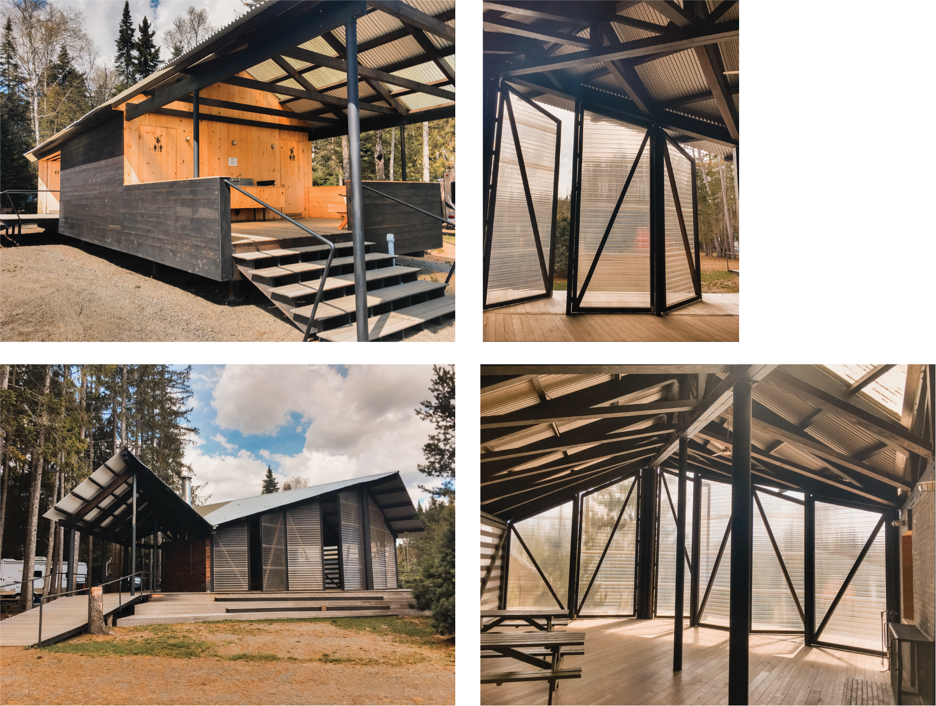 This is a campground! 🏕 We stayed for a few nights last month. The first photo is the bathroom 🚽 / dishwashing 🧼 / laundry 🧺 building and the other photos are the community building. I can't stop gawking at the genius roof assembly and those giant see-through doors. 🤩 Beautiful in its simplicity and functionality.