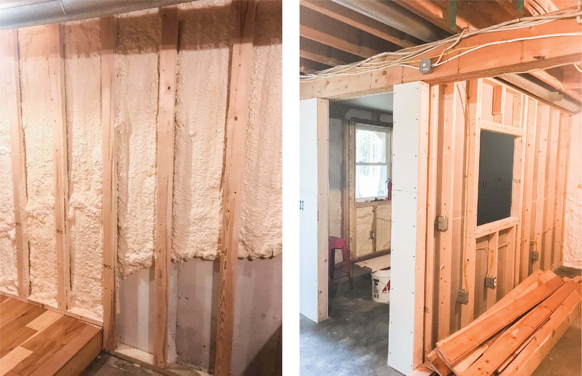 "Check it out! We spray foamed our basement and I am SO excited about it. 😁 I have many opinions about spray foam insulation, here are a few:  First the bad news... Spray foam chemicals are NOT awesome for the environment 🌳. And spray foam can be difficult to work with if you ever need to renovate or remodel. 🏠 If you are building a new home, I would probably recommend a different type of insulation. 👍🏻  BUT, the good news, if you have an existing basement, your heating money 💰 could go a lot further with a little spray foam. Here we have 2"" closed cell on the walls and 3"" closed cell at the ceiling joint (rim joist) as recommended by our spray foamer. He installed the spray foam 2' below grade on all walls. (You can see how it slopes up, 📐 following the grade.)  Our guy estimates that spray foaming our daylight ☀️ basement walls will save approximately 30% on our heating bills. Cha-ching! 🤑 And as for indoor air quality; this stuff will off-gas for about a year. Not ideal. 🤷🏻‍♀️ But our guy is educated 🤓 on this and reckons we probably get worse off-gassing with the electronics 🔌 in our house. Nothing is perfect...  If you need help strategizing your project, message me. 🙋🏻‍♀️ I have LOTS of opinions and I know the right people to get it done."