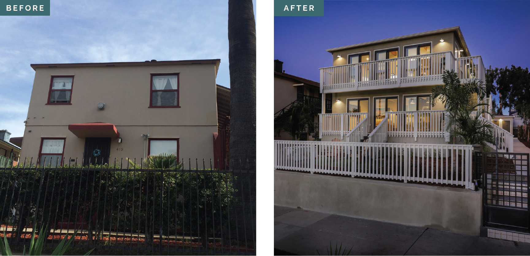 I'm so proud of this before and after. ☺️ We designed and permitted a gut remodel of this 4-Unit Apartment Building 🏢 in San Diego. It's in a historic district which meant lots of extra hoops to jump through. This was a tight collaboration 🤝 with the client... who was on a tight budget 💰 AND a short timeline 📆. We hustled and got it done. 💪🏻 So worth the effort.  The triple french doors let in tons of natural light ☀️ and the porches mean each unit has its own outdoor space... so rare for an apartment.  The interior is just as cool. 😎 Check it out in my gallery.