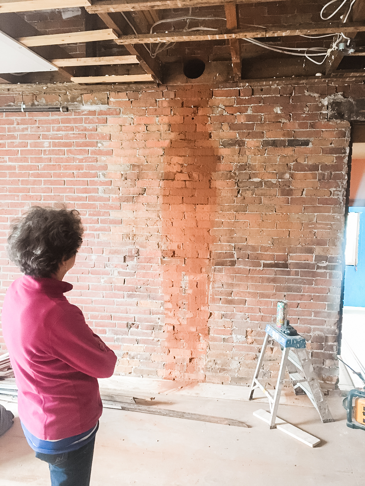 """This is what it looks like when you core a 6"""" hole through a double brick wall. That red stripe is brick dust!"""