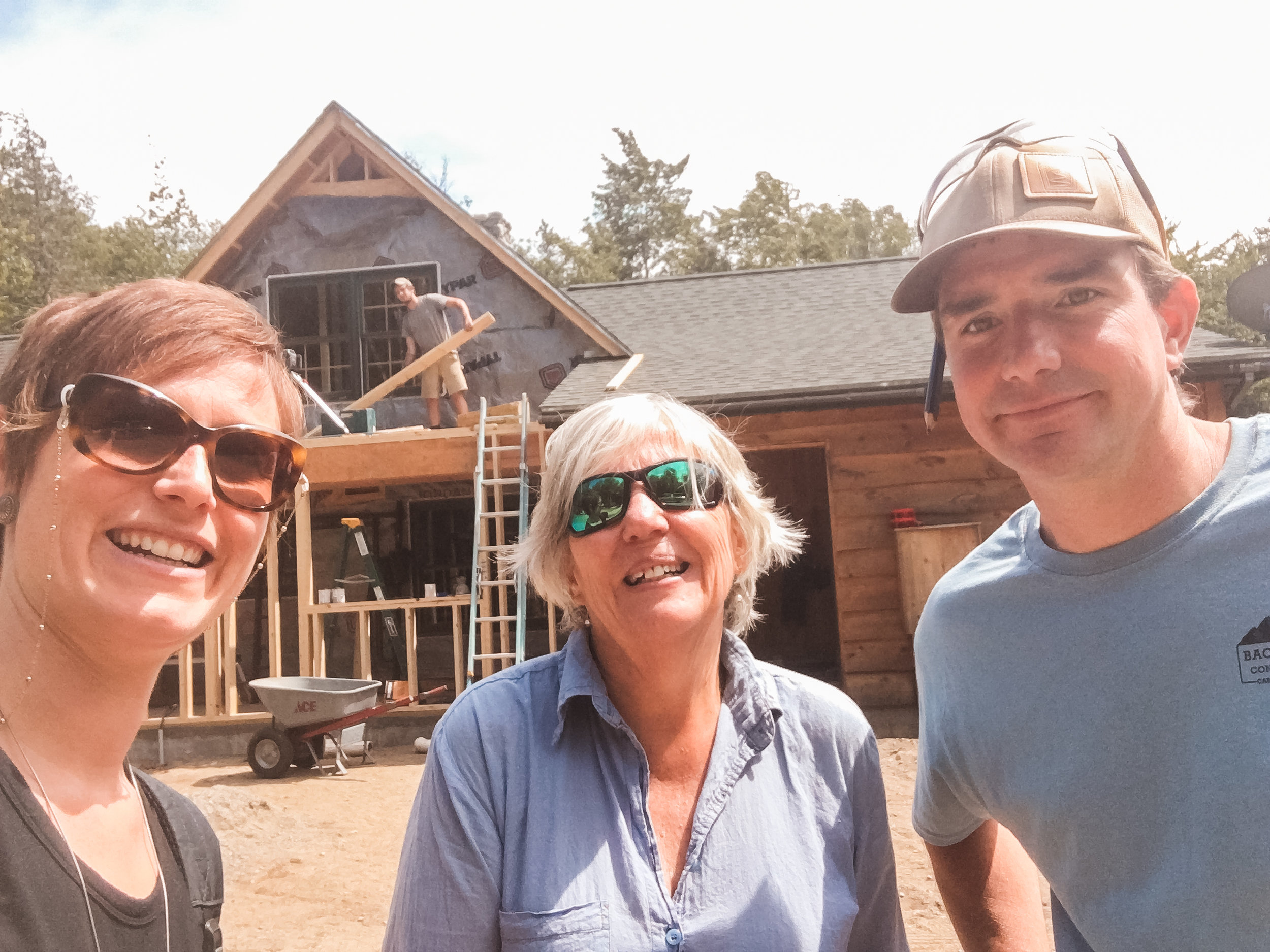 Construction 🚧 is in progress on this Sugarloaf addition/ remodel! This is me 👋🏻 with the client & contractor. It's so exciting when the building starts to take shape...🕺🏻 I find that regularly scheduled team site meetings are incredibly helpful in making the right decisions & maintaining communication. 🙌🏻 Open communication! So important in construction. (And in everything else.)