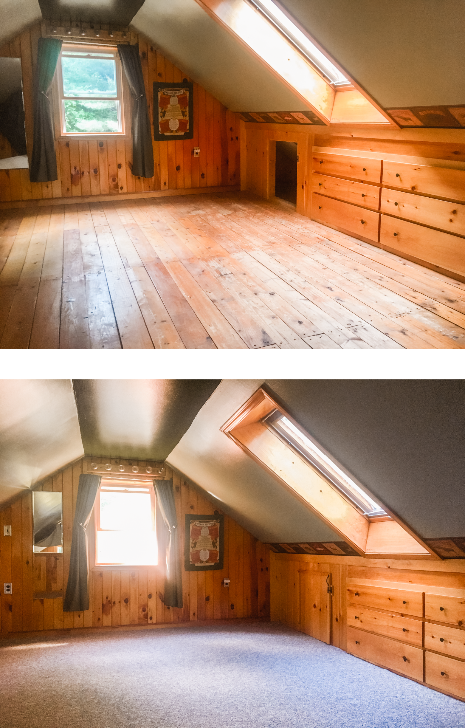 This is our Loft/ Guest Bedroom. 🛏 Directly below those floorboards is our Master Bedroom. When we have guests to stay, we can hear their every footstep 👣. So to mitigate the noise husband 1️⃣ screwed down the edges of each floor board... that eliminated a lot of the creaking. Then 2️⃣ we installed a thick pad and durable carpet on top of the boards... Mike and I took turns jumping around up there and you couldn't hear a thing in the Master Bedroom. It worked! 👍🏻 DIY tip ✔️, we found a smoking deal on remnant carpets at our local building overstock store (Mardens). Only $1/ square foot. 🤑 Cha-ching! Also, make sure you're ready with LOTS of extra box-cutter blades. Also also, if we had the 💲💲 this is definitely something we would have hired out. Don't look too closely because that DIY carpet install is a little rough around the edges. 😁 Scroll right 👉🏻 to see the installed carpet. Next step, new wall/ ceiling paint!