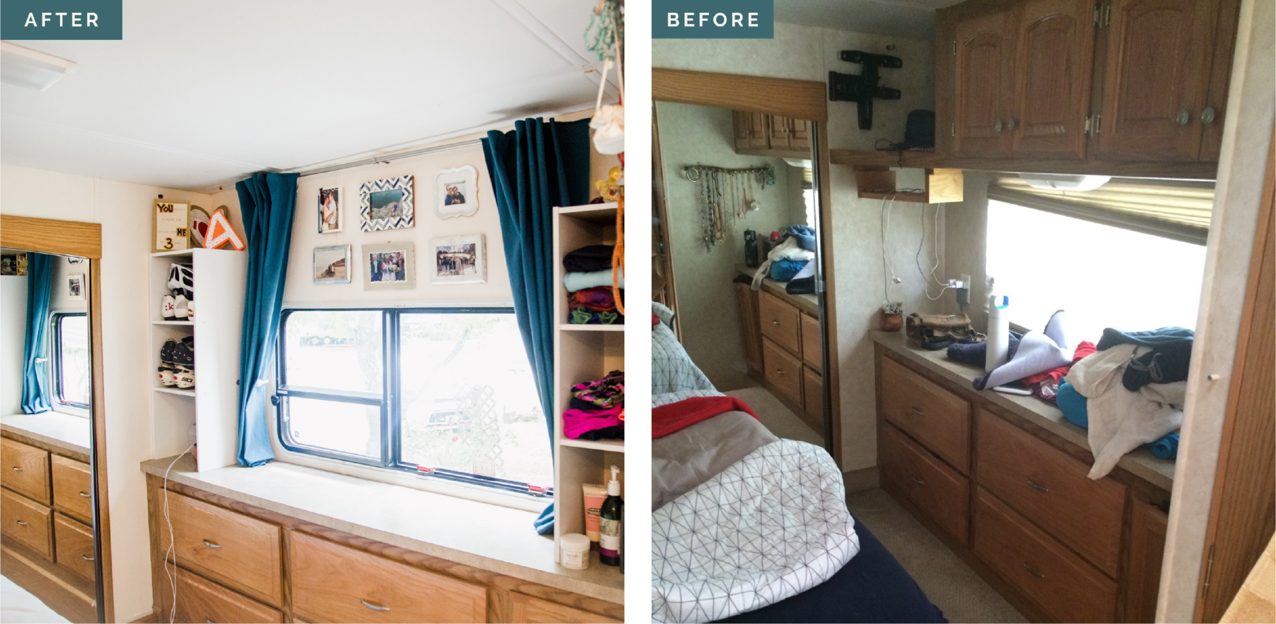 This before & after is from way back in the day... Husband and I 👫 lived in and renovated an RV 🚌 when we lived in Texas 🌵. We opened up the bedroom 🛏 by demolishing 🔨 the old upper cabinets and painting the walls a lighter color. Add some vertical shelves from Target, DIY curtains, and a small photo 📸 collage and voila! 🤗 People don't realize how those overhead cabinets can make a space feel so much smaller 👎🏻. Whether you're in a tiny house or a typical house. A few strategic (and cheap 💵) DIY moves can mean a whole new look.  Check out the rest of the renovation 🛠 in my gallery. Link in bio. ☝🏻