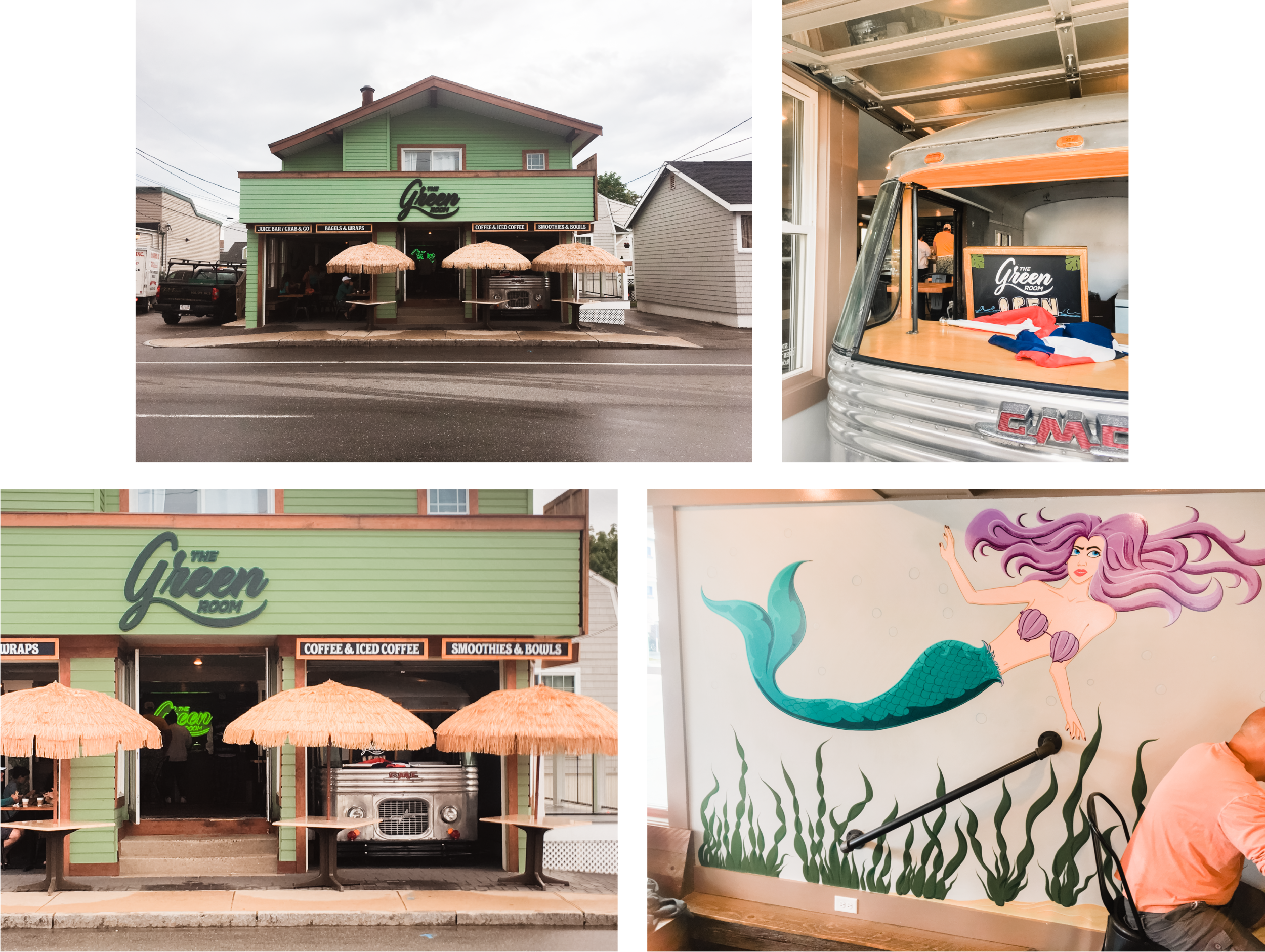 Found this sweet restaurant 💚 on a recent trip to Hampton Beach, NH.  They installed two garage doors and parked a bus 🚌 on one side! The other side has seating open to the sidewalk. Such a simple and creative idea. And so eye 👀 catching.  I especially love the annoyed mermaid 🧜🏻♀️ painted on one of the interior walls.