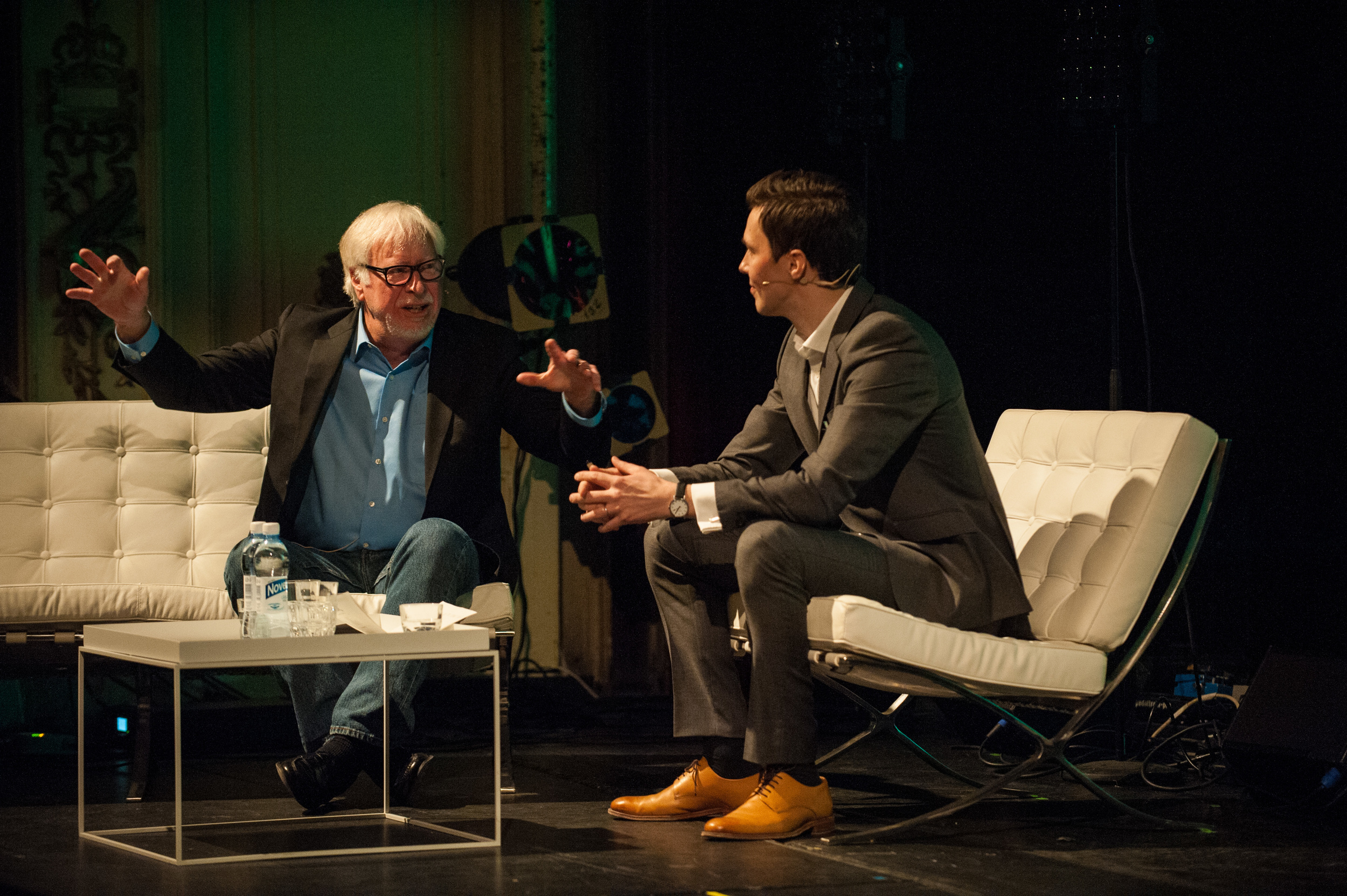 Marty Neumeier and Tobias Dahlberg on stage at Flux 2015