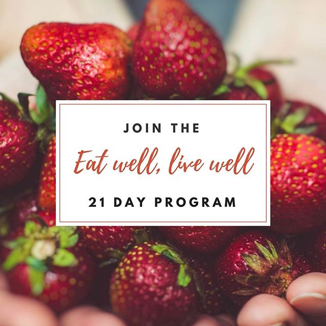 "Exciting news for y'all! I'm hosting a 21 Day ""Eat Well, Live Well"" Program starting April 3rd and YOU'RE INVITED!! (Psst....use code ""FIFTY"" to score 50% OFF, which brings your health investment down to 50 bucks!) What to expect: Live Daily Coaching 