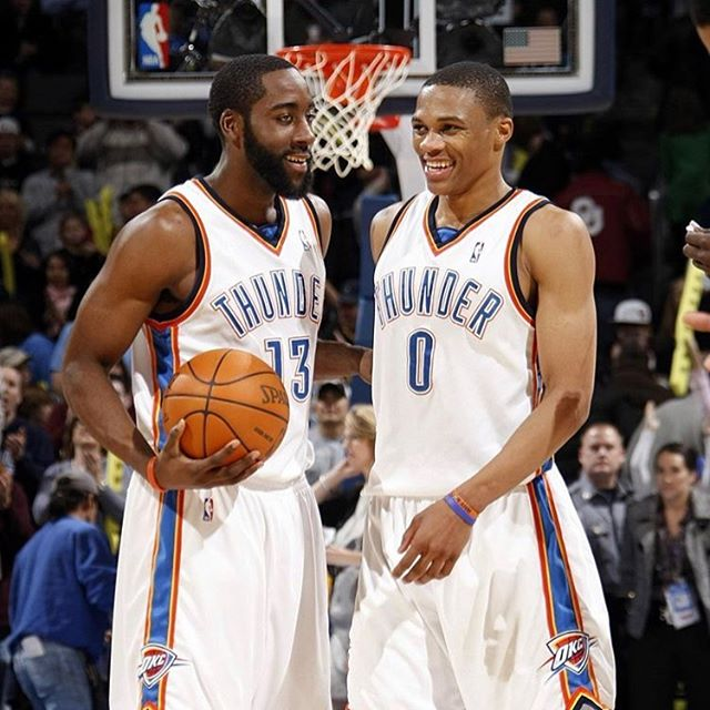 """""""You could not live with your own failure...and where does that bring you...BACK TO ME"""" - Thanos....Westbrook and Harden back together again, what do yal think.  #thatsgamesports #nba #russellwestbrook #jamesharden #eurostep 🏀🏀🏀🏆🏆🏆"""