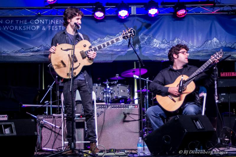 Alex onstage at the Crown of the Continent Guitar Festival in Bigfork, Montana with guitarist Karl Marino (August 2013)
