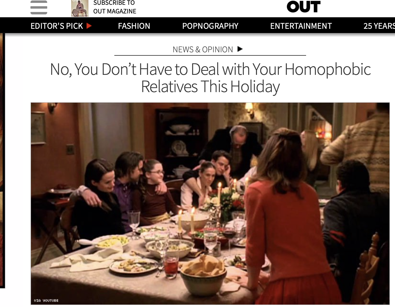 OUT MAGAZINE | No, You Don't Have to Deal with Your Homophobic Relatives This Holiday - From navigating conversations about your identity, to the intentional jabs certain homophobic uncles often make at your expense, prioritizing wellness over family ties might be the way to go.