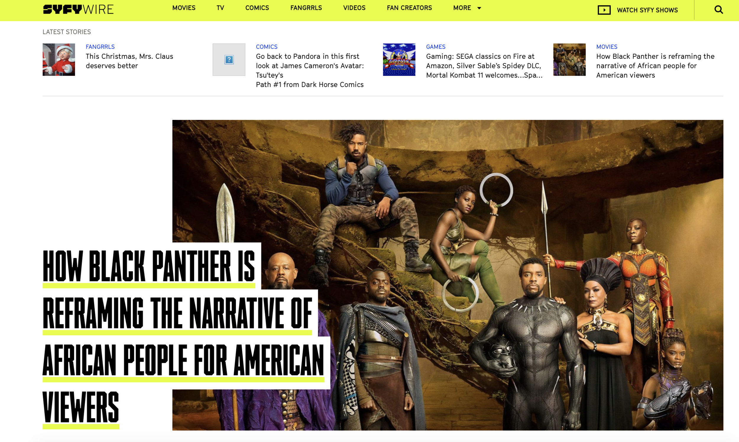 SYFYWIRE | HOW BLACK PANTHER IS REFRAMING THE NARRATIVE OF AFRICAN PEOPLE FOR AMERICAN VIEWERS - From conversations about the diaspora, Black representation, and cultural significance, the film created space to discuss Blackness in a new and more inclusive way.