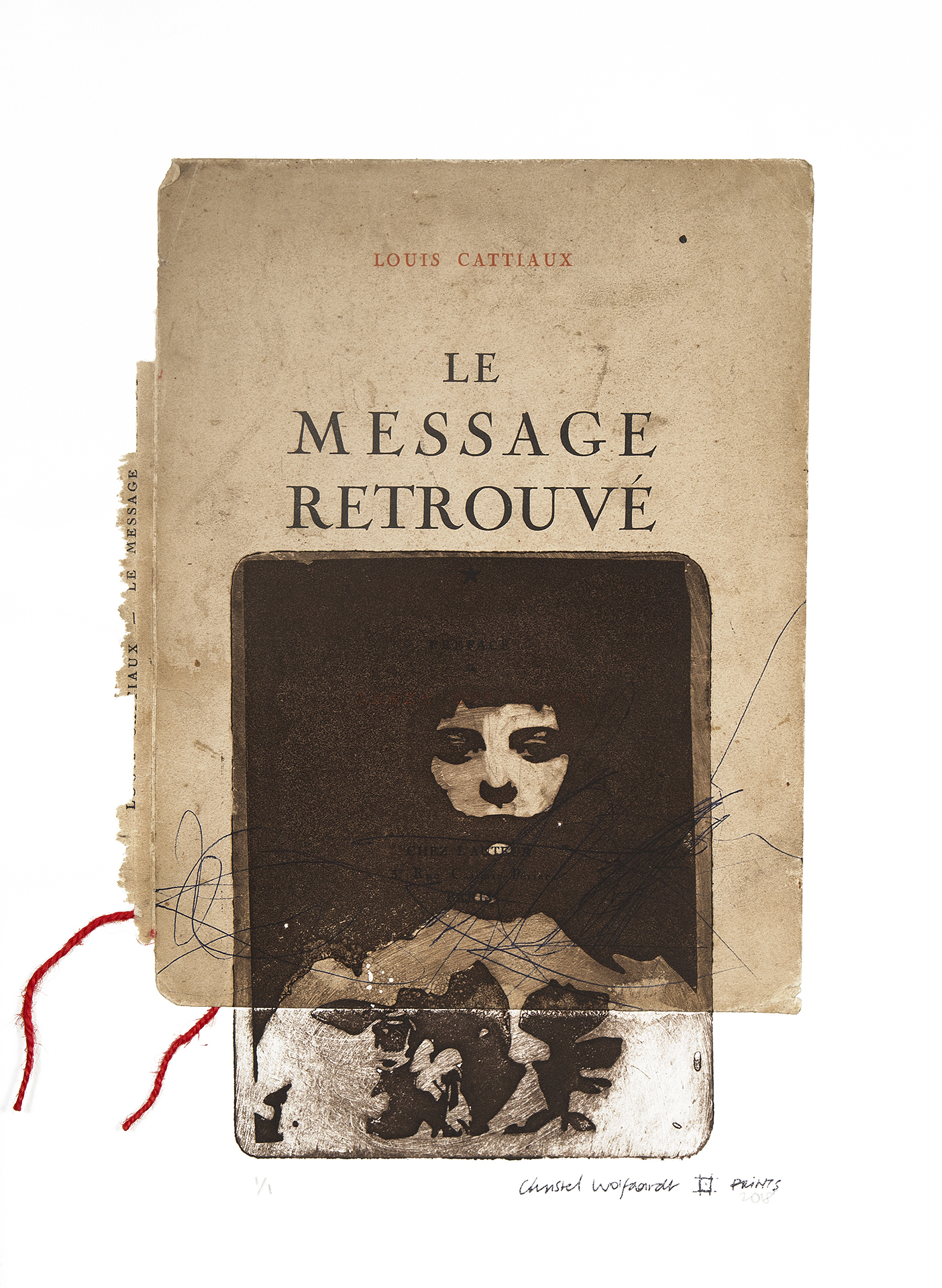 Le Message Retrouvé, solarplate, chine collé, string