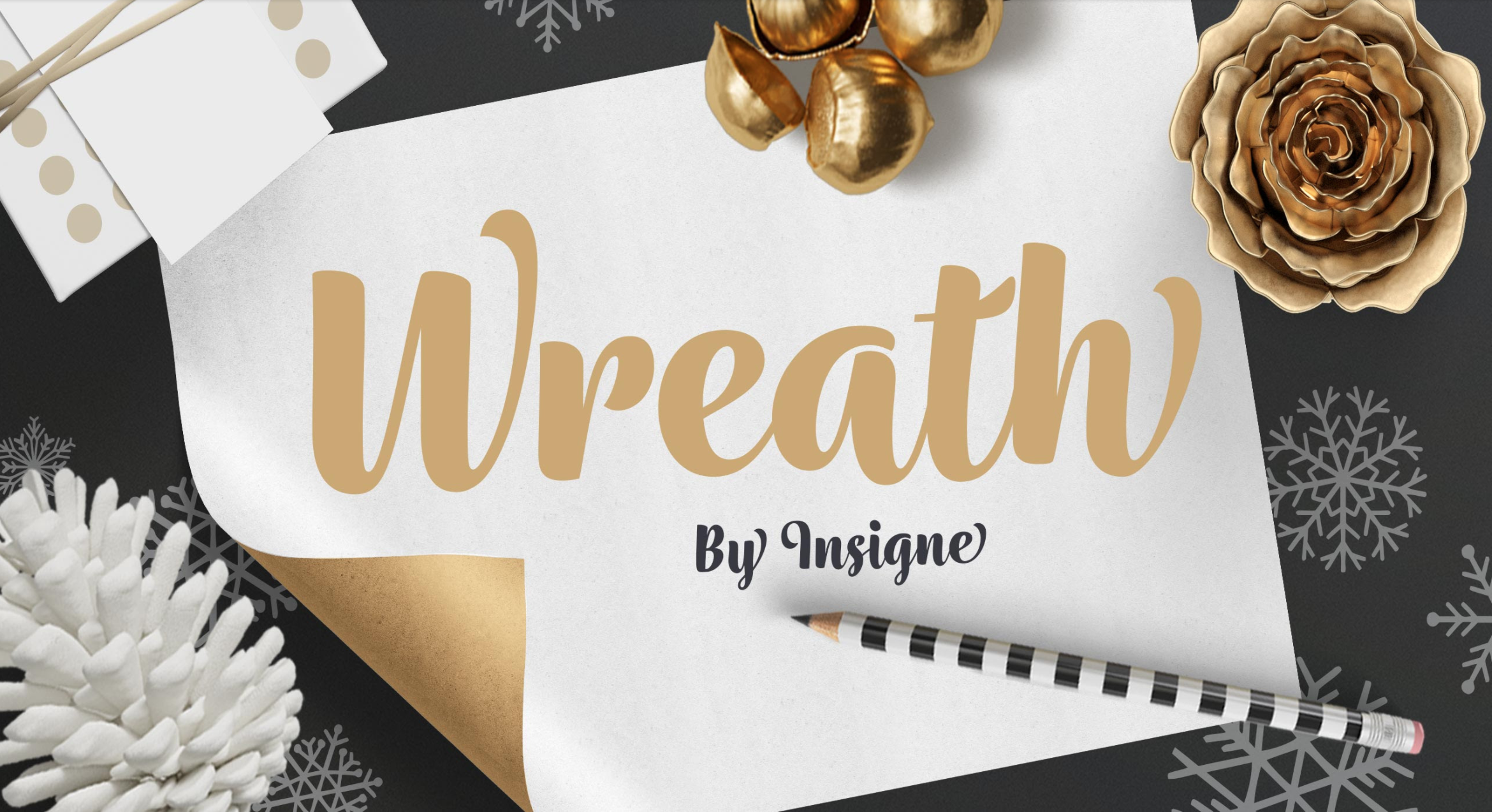 Wreath from  Insigne is a collection of 21 script fonts that includes five different texture variations to choose from, as well as companion decorative ornaments.