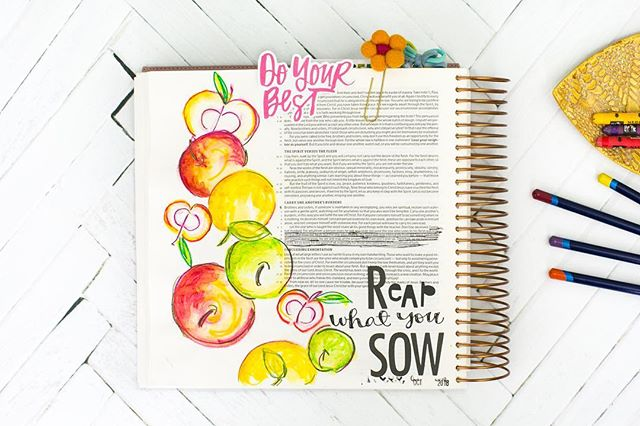 We won't ever be perfect but when we give our best, He meets us with HIS BEST and the fruit of our humble offering pours out all over everything in full color. . Oh how I love being His 🧡 . #illustratedfaith #reapwhatyousow #offering #biblejournaling #hisbest #fruit #godseconomy