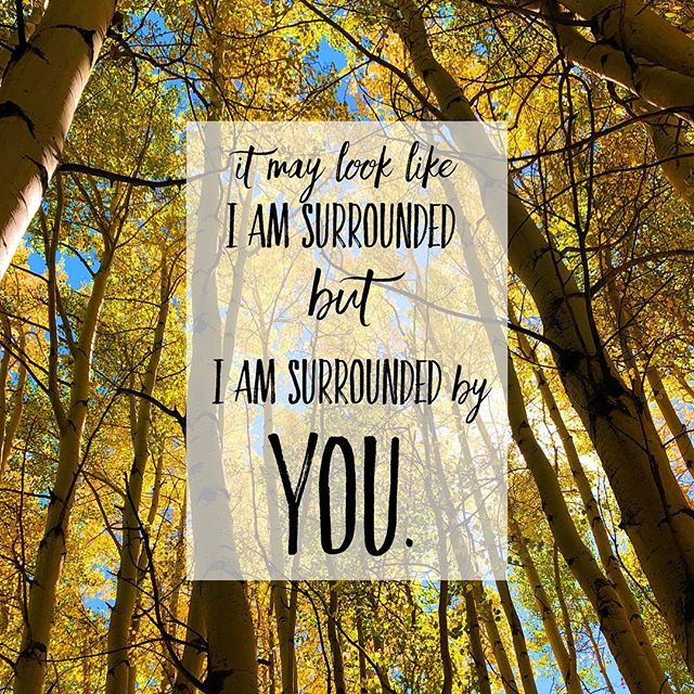 Someone needs this tonight.  The picture is mine 💛 quote is from Michael W. Smith's song Surrounded (Fight my Battles) . You are loved.  You are not alone. . #neveralone #hesurrounds #thisishowIfightmybattles #jesus #thebattleishis #aspentrees