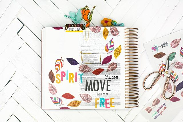 Spirit Move.  Spirit Rise.  Spirit set Free. . There are no pretty leaves in Florida so I grabbed the set of fall leaves I created for @illustratedfaith Print and Pray shop.  Love and Love more. . Lord, flood us with YOU. . 👆🏻Link to the set in profile   shop   search amy bruce . #illustratedfaith #printandprayshop #Spiritmove #spiritrise #free #spiritcome #fall #leaves #free #biblejournaling #journalingbible