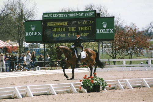 Worth The Trust and Karen O'Connor on their way to winning the 1997 Rolex Kentucky Three-day Event.  Photo Brant Gamma