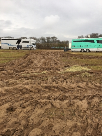 Mud tracks on the final day at Burnham Market  (Photo - Izzy Riley.)